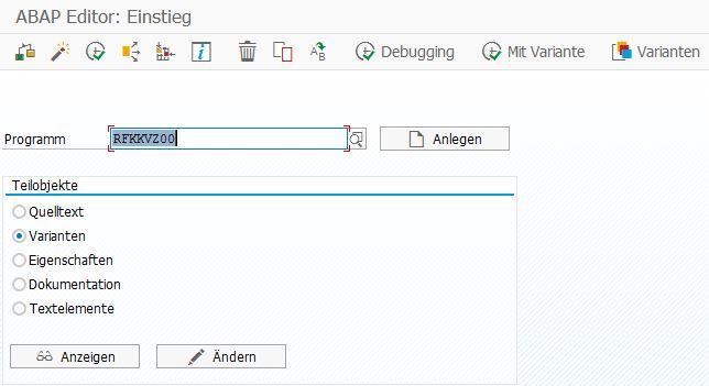 Über den ABAP Editor kann man eine Standardvariante ändern.