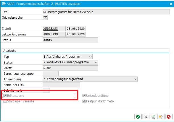 Editorsperre in SAP ERP kann im Report aktiviert und deaktiviert werden.