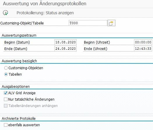 Änderungsprotokoll in der SCU3 für eine Tabelle anzeigen lassen.