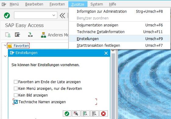 """Neben der Anzeige der Beschreibung von Transaktionen im SAP Easy Access Menü gibt es die Möglichkeit, zusätzlich den Transaktionscode anzeigen zu lassen. Das kann man einfach in den Einstellungen mit """"Zusätze > Einstellungen"""" oder """"Umschalt + F9"""" und dem Anhaken der Checkbox """"Technische Namen anzeigen"""" umsetzen."""