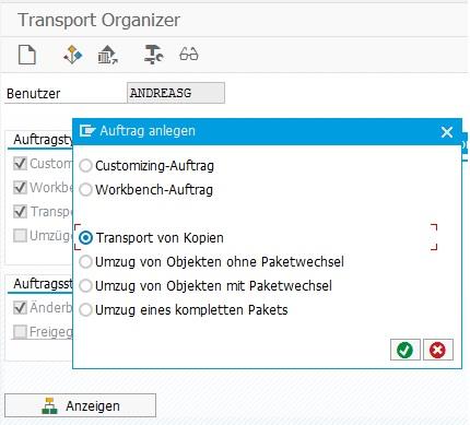 Transport von Kopien über den Transport Organizer erstellen.