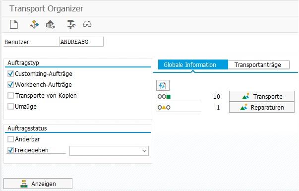 Der Transport Organizer ist das zentrale Werkzeug für das Transportsystem in SAP ERP.