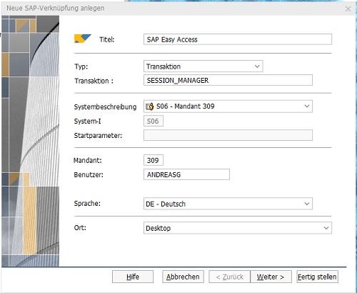 Neue Desktopverknüpfung unter Windows-SAP-GUI anlegen