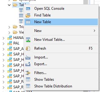SAP HANA Tabellen über das Kontextmenü erstellen