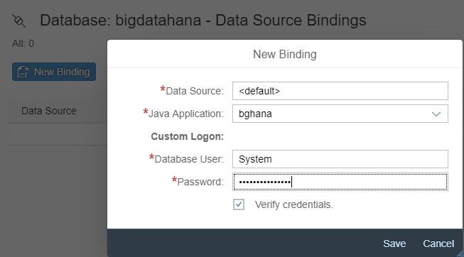 Data Source Binding auf der SAP Cloud Platform für SAP HANA Anwendung