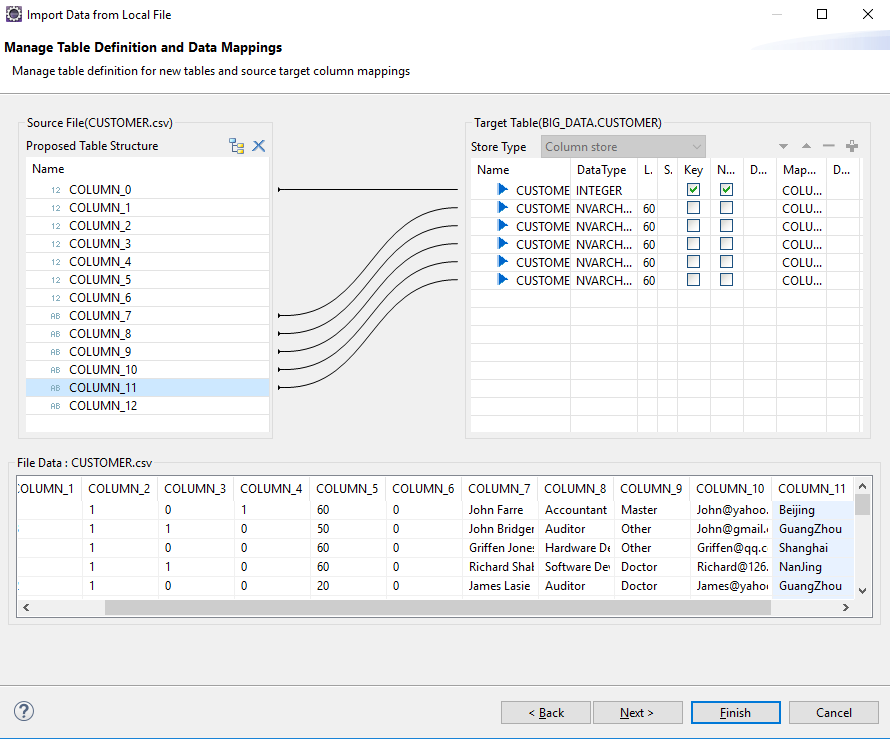 SAP HANA - Mapping - Import Data From Local File