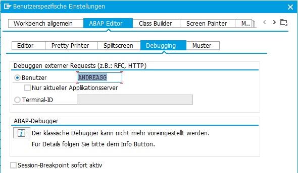 """In den Editoreinstellungen unter """"Debugging"""" kann man den RFC-Benutzer eintragen, um RFC-Aufrufe mit dem RFC-Benutzer zu testen und zu debuggen."""