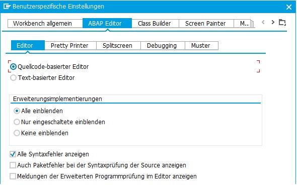 """Im ABAP-Editor kannst Du verschiedene Editoreinstellungen vornehmen. Mindestens sollte hier die Einstellung """"Quellcode-basierter Editor"""" aktiviert werden."""