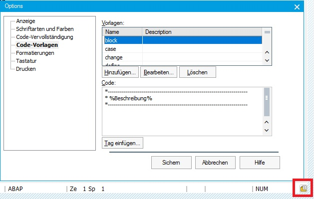 """Durch Drücken des Buttons in dem ABAP Editor öffnen sich die Optionen. Hier gibt es den Knoten """"Code-Vorlagen"""" wo Du die Code-Vorlagen definieren und pflegen kannst."""
