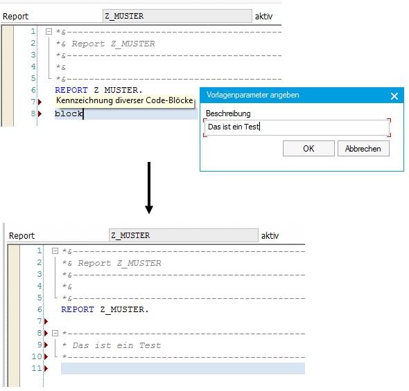Code-Vorlagen sind einfach und sehr hilfreich bei der ABAP-Entwicklung. Ein Muss für jeden ABAP-Entwickler. Durch Code-Vorlagen kann man einfach schön formatierte Kommentare nutzen.