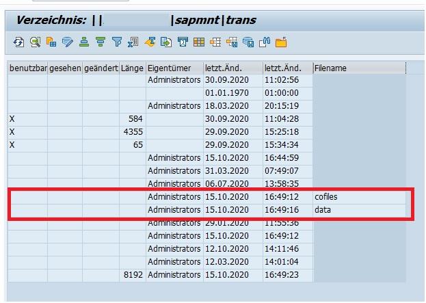 In der Transaktion AL11 werden alle Verzeichnisse des SAP-Systems aufgelistet. Hier findet man einfach die Verzeichnisse für die notwendigen cofiles und data.