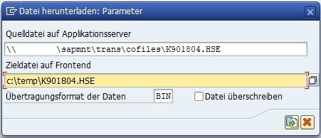 In der Transaktion CG3Y kann man den externen Transport vom eigenen SAP-System herunterladen. Hierzu gibt man das SAP-Verzeichnis der Quelldatei an und das Verzeichnis auf dem lokalen Computer.