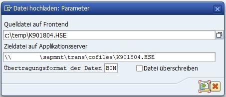 Die Transaktion CG3Z ist das Gegenstück zu CG3Y. In der CG3Z kann man den externen Transport in das SAP ERP importieren. Man wählt die CO- und DATA-Datei auf dem Computer aus und das Zielverzeichnis.