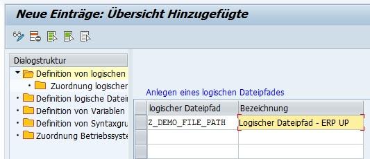 """Um einen neuen logischen Dateipfad zu erstellen, kann man einen bestehenden kopieren oder einen neuen erstellen durch Klick auf die entsprechenden Button (""""Kopieren als (F6)"""" oder """"Neue Einträge""""). Anschließend gibt man den Namen des logischen Dateipfades und die Bezeichnung an. Hier sollte man auf den Namensraum achten. Mit Klick auf """"Sichern"""" bzw. """"Strg + S"""" ist der logische Dateipfad gespeichert und im System vorhanden."""