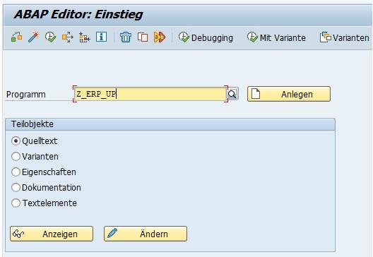 """Möchte man also bspw. das Programm """"Z_ERP_UP"""" aufrufen, so muss man folgenden Befehl im Kommandofeld eingeben:  /*SE38 RS38M-PROGRAMM=Z_ERP_UP"""