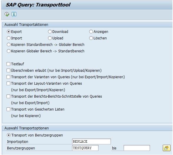 Da ein SAP Query auf ein InfoSet basiert und eine Benutzergruppe benötigt, müssen auch das Infoset und die Benutzergruppe mit transportiert werden. Leider kann man nicht alle drei SAP-Objekte in einem Transportauftrag packen, sondern man muss diese Objekte einzelnen Transportaufträgen zuordnen.  Zuerst müssen wir also die Benutzergruppe exportieren. Hierfür wählen folgende Einstellungen:  Transportaktion: Export Transportoption: Transport von Benutzergruppen Importoption: REPLACE (wenn vorhanden) bzw. Leer (wenn neu) Benutzergruppe: <Deine Benutzergruppe angeben>