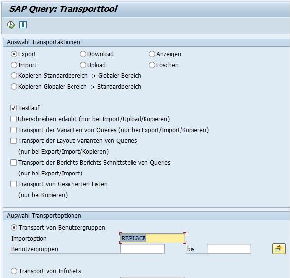 Du kannst diesen Report mit der Transaktion SA38 oder SE38 einfach starten. Der Report bietet vier Möglichkeiten für das Transportieren von SAP Querys: Export, Import, Download, Upload.