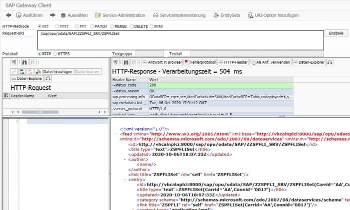 """Abschließend ist es vom großen Vorteil, den OData Service einmal zu testen. Hierfür kann man den SAP Gateway Client in der Transaktion /IWFND/GW_CLIENT.  Indem man die Request-URI angibt, kann man mit dem Radio-Button """"GET"""" einfach eine GET-Operation ausführen und überprüfen, ob die Daten korrekt übergeben werden."""