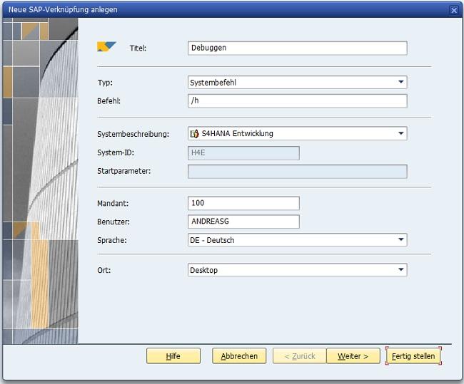 """Es ist dabei auch möglich, bei PopUps zu debuggen. Dafür muss man einfach eine SAP-Desktop-Verknüpfung anlegen mit dem System-Befehl """"/h"""" (Klick auf """"Erstellt eine Verknüpfung"""" in der Menüleiste). Nun kann man einfach doppelt auf die Verknüpfung klicken und das Debugging ist aktiviert."""