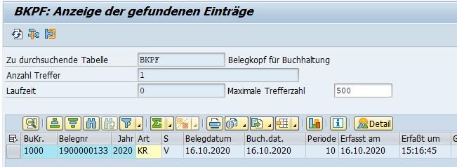 """Direkt in der Datenbanktabelle kann man mit der Transaktion SE16N nachsehen. Dazu öffnet sich der Data Browser und man gibt die Datenbanktabelle BKPF ein. Erneut gibt man die Belegnummer ein. Falls man diese nicht zur Hand hat, kann man den Beleg auch mit """"Erfasst am"""" und """"Erfasst um"""" das Erstellungsdatum bzw. die Erstellungsuhrzeit eingeben."""