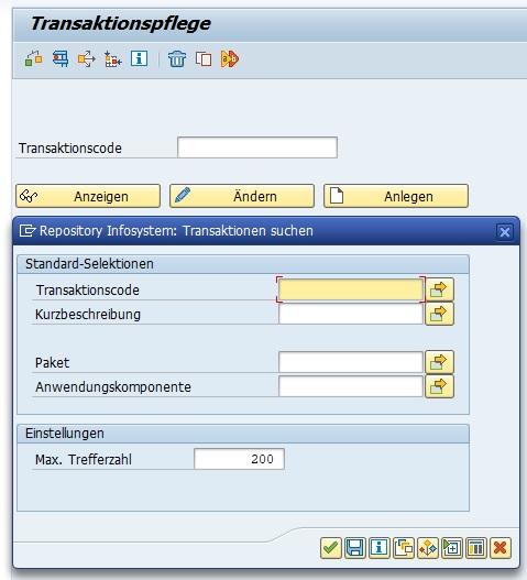 Gerade wenn es um das Thema SAP-Transaktionen geht, wird man häufig auf die Transaktion SE93 verwiesen. Die Transaktion SE93 ist die zentrale Transaktion um die SAP-Transaktionen. Denn hier erstellt man Transaktionscodes für ABAP-Reports. In dieser Transaktion kann man einfach und schnell nach der gewünschten Transaktion suchen. Hier gibt es zusätzlich zum Transaktionscode und der Kurzbeschreibung die Möglichkeit, nach dem Paket und der Anwendungskomponente zu suchen.