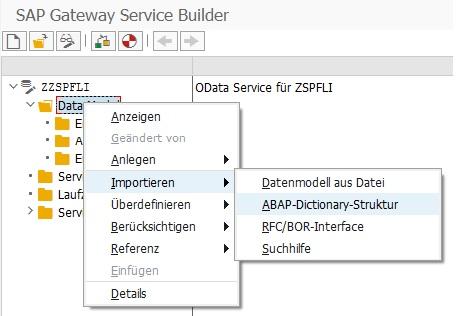"""Nachdem der OData Service erstellt ist, muss man nicht noch mit entsprechenden Entitätstypen füllen. Dazu klickt man in der Baumstruktur im angelegten OData Service im Knoten """"Data Model"""" mit der rechten Maustaste auf """"Importieren > ABAP-Dictionary-Struktur"""". Natürlich könnte man auch auf """"Anlegen > Entitätstyp"""" eine eigene Entität definieren, aber das leichte Vorgehen ist der Import von einer ABAP-Struktur."""