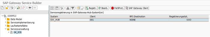 """Der einfachste Weg, einen OData Service zu aktivieren, ist direkt im SAP Gateway Service Builder. Im Knoten """"Serviceverwaltung > GW_HUB"""" kann man einfach durch Klick auf den Button """"Serv. registr."""" den Service registrieren."""