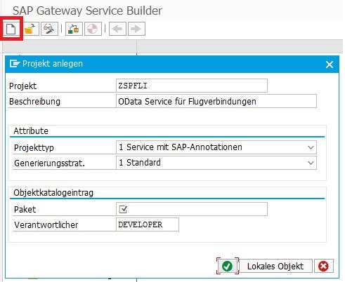 """Anschließend klickt man auf den Button für """"Projekt anlegen"""". In den darauf angezeigtem Fenster gibt man den Namen des Service (Projekt), die notwendigen Attribute und die Zuordnung zum Paket an.  Den vorgeschlagenen Projekttyp und die Generierungsstrategie kann man vorausgefüllt lassen."""