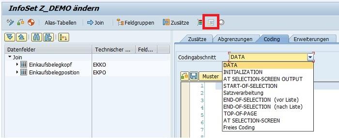 """Den ABAP Code in SAP Query fügt man direkt im InfoSet ein. Dazu öffnet man als Erstes die Transaktion SQ02, wählt das gewünschten InfoSet aus und geht in den Änderungsmodus durch Klick auf """"Ändern"""". Durch Klick auf den """"Coding""""-Button oder """"Umschalt+F8"""" gelangt man in den Codingabschnitt. Alternativ kann man auch auf """"Zusätze"""" klicken und dann den Reiter """"Coding"""" auswählen.  Es stehen insgesamt mehrere Codingabschnitte zur Verfügung. Wenn man über den Dropdown das gewünschten Codingabschnitt auswählt, kann man den entsprechenden ABAP Code in SAP Query einfügen und ausführen lassen. Der in dem Codebereich geschriebene Code wird an den automatisch generierten Abfragebericht übertragen."""