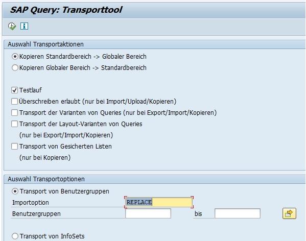 Der geöffnete Report lässt nur ein Kopieren vom Standardbereich in den globalen Bereich von SAP Querys und andersherum zu.