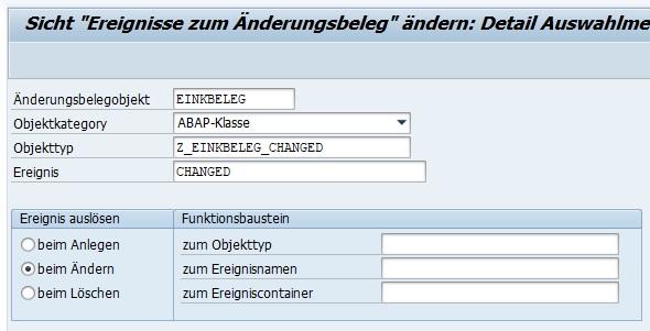 """Um einen neuen Eintrag zu erstellen, klickt man auf den Button """"Neue Einträge"""" und gibt die notwendigen Informationen ein. Bei der Objektkategorie kann man sowohl ein BOR-Objekt als auch eine ABAP-Klasse angeben. Zudem hinaus kann man angeben, zu welchem Zeitpunkt genau das Ereignis ausgelöst werden soll: Anlegen, Ändern oder Löschen."""