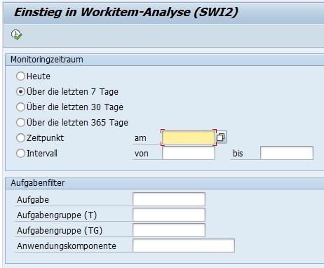 Eine der zentralen Transaktion für die Fehleranalyse von Workflows ist SWI2_DIAG. Denn mit dieser Transaktion ist es möglich, die fehlerhaften Workitems zu analysieren bzw. gefiltert nach Zeiträumen angezeigt zu bekommen.