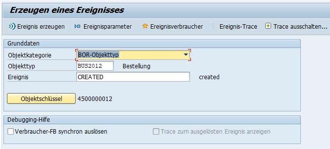 Die Transaktion SWUE eignet sich ebenfalls hervorragend, um ein Ereignis zu simulieren und somit potenzielle Fehler in einem Workflow zu analysieren. Hierzu kann man dabei das Ereignis an einem echten SAP-Objekt im System testen.