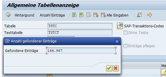 Es ist wichtig, die Tabelle TSTC zu kennen. Denn einer der besten Tipps für SAP-Transaktionen ist die Tabelle TSTC. Diese Tabelle liefert eine Liste aller SAP-Transaktionen im SAP ERP-System. Man kann die Tabelle einfach mit dem Data Browser in der Transaktion SE16N aufrufen und sich die Liste anzeigen lassen. In der Tabelle TSTCT sind die Beschreibungen der Transaktionen enthalten.