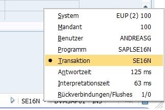 """Es lohnt sich, den aktuellen Transaktionscode in der Fußzeile bzw. Statusleiste anzeigen zu lassen. Das ist einfach, in dem man im SAP GUI in der Statusleiste im rechten unteren Eck den Pfeil anklickt und anschließend die Option """"Transaktion"""" auswählt. Anschließend wird in der SAP GUI im rechten unteren Eck in der Statusleiste der aktuelle Transaktionscode angezeigt. Das ist sehr praktisch und nützlich, gerade wenn man mit einer Vorwärtsnavigation in eine neue Transaktion geleitet wird."""