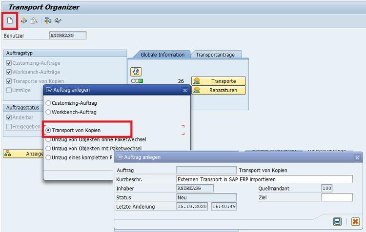 Um einen externen Transport in ein fremdes SAP-ERP-System zu importieren, muss man als Erstes die notwendigen Dateien exportieren. Hierzu erstellt man einen Transport im Transport Organizer (SE09 bzw. SE10).