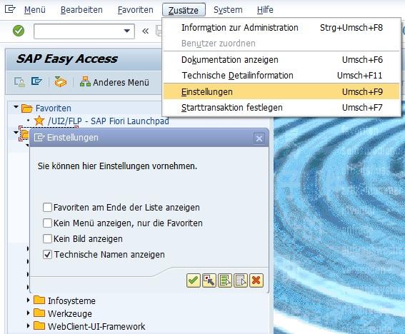 """Im SAP Easy Access Menü kann man sich ebenfalls die Transaktionscodes anzeigen lassen. Neben dem Namen bzw. der Beschreibung kann man somit den Transaktionscodes einblenden lassen. Dazu klickt man in der Menüleiste einfach auf """"Zusätze > Einstellungen"""" und klickt die Checkbox """"Technische Namen anzeigen"""" an. Anschließend wird im SAP Easy Access der Transaktionscode eingeblendet."""