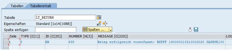 Eine gute Möglichkeit ist direkt die Anzeige der vorerfassten Rechnungen. Im Debugger erhält man die Belegnummer in der Tabelle lt_return.