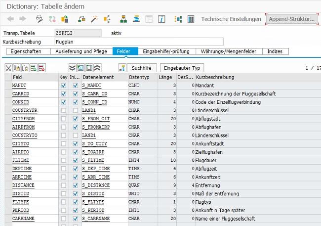 In diesem Beispiel verwende ich eine Z-Tabelle, die auf der Tabelle SPFLI basiert. Zusätzlich dazu habe ich das Attribut CURRNAME aus der Tabelle SCARR mit aufgenommen, da im späteren Verlauf eine Read-Operation auf einen Join zwischen SPFLI und SCARR erzeugt wird.