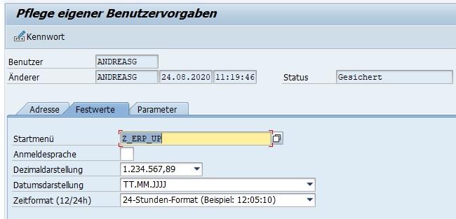 """In der Transaktion SSM2 wird für alle SAP-Benutzer das Einstiegsmenü festgelegt. Wenn man hingegen für sich selber ein eigenes Bereichsmenü festlegen möchte, so kann man das einfach in den eigenen Daten tun. Hierzu ruft man entweder die Pflege eigener Benutzervorgaben mit dem Transaktionscode SU3 auf oder wählt """"System > Benutzervorgaben > Eigene Daten"""".   Hier kann man im Tabreiter """"Festwerte"""" im Feld """"Starmenü"""" das eigene Bereichsmenü angeben. Mit der F4-Hilfe kann man einfach und schnell nach dem gewünschten Menü suchen."""