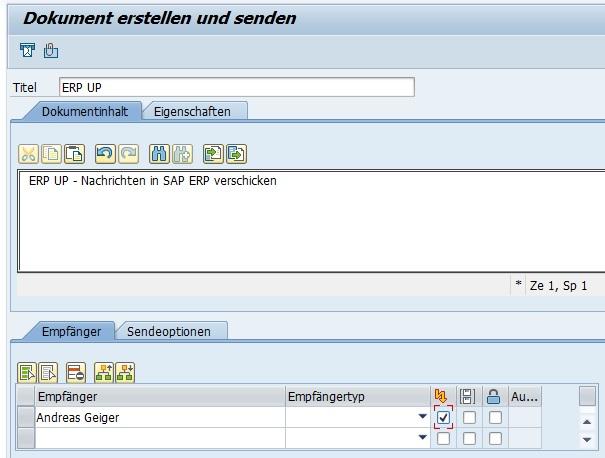 Man hat bei der Erstellung der Kurznachricht die Möglichkeit, mehrere Adressaten anzugeben. Auch ist die Versendung einer Express-Nachricht möglich.