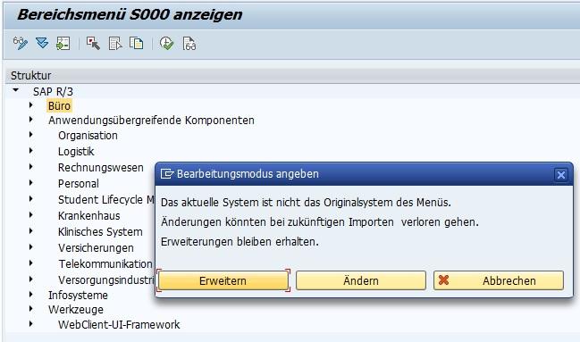 """Um das eigene Bereichsmenü nun im SAP Easy Access anzeigen zu können, muss man im Standard-Bereichsmenü S000 das eigene Bereichsmenü hinzufügen. Dazu wählt man in der Transaktion SE43N das Menü S000 aus und klickt im Änderungsmodus auf """"Erweitern""""."""
