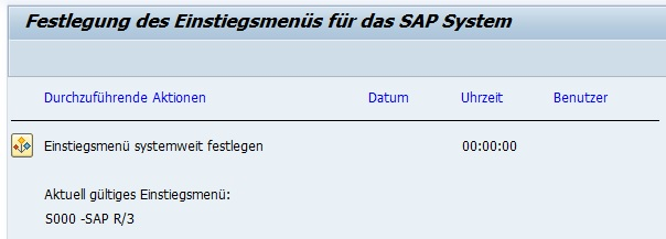 Man kann dabei sogar das Einstiegsmenü nach der Anmeldung festlegen. Im Standard wird das Bereichsmenü S000 aufgerufen. Doch man kann auch sein eigens definiertes Menü aufrufen lassen.   Um das Einstiegsmenü in SAP festzulegen, öffnet man den Transaktionscode SSM2. Im Standard sieht man das aktuell gültige Einstiegsmenü S000. In der Transaktion SE43 bzw. SE43N kann man sich das im Detail auch ansehen und bei Bedarf verändern.