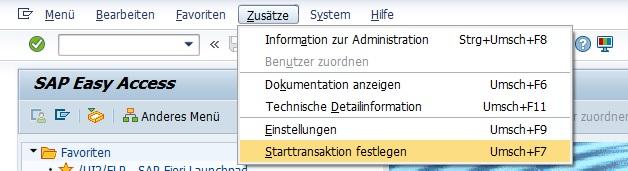 """Viele SAP-Anwender benötigen in der täglichen Arbeit lediglich eine Handvoll Transaktionen und nicht alle Transaktionen in SAP ERP. Oft ist der Einstieg in den Arbeitstag immer die gleiche Transaktion. Um sich auch hier die Eingabe des Transaktionscodes zu sparen, kann man direkt eine Starttransaktion festlegen. Hierzu wählt man """"Zusätze > Starttransaktion festlegen""""."""