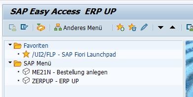 Bei der nächsten Anmeldung wird das Einstiegsmenü aufgerufen. So kann man auch das SAP Easy Access Menü erweitern.