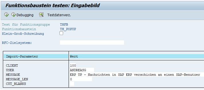 Um eine Nachricht in SAP ERP mit dem Funktionsbaustein TH_POPUP also zu verschicken, rufst Du mit der Transaktion SE37 den Funktionsbaustein auf bzw. führst ihn aus (F8). Anschließend kann man die Import-Parameter angeben, die beim Aufruf des Funktionsbausteins übergeben werden. Unter CLIENT gibt man den aktuellen Mandanten an, bei USER den SAP-Benutzer, der die Nachricht erhalten soll und unter MESSAGE die tatsächliche Nachricht. Wenn die Daten eingegeben sind, führt man den Funktionsbaustein aus mit F8 oder Klick auf den Button.