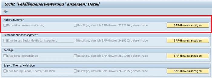 """Die Materialnummernerweiterung kann man in der Transaktion """"Feldlängenerweiterung"""" mit dem Transaktionscode FLETS aktivieren. Alternativ kann man auch den Customizing Pfad in dem Transaktionscode SPRO wählen: Anwendungsübergreifende Komponenten > Allgemeine Anwendungsfunktionen > Feldlängenerweiterung > Erweiterte Felder aktivieren. Bevor man das Feld aktiviert, sollte man den SAP Hinweis 2232396 überprüfen. Hier werden noch einmal die wichtigsten Änderungen näher erläutert."""