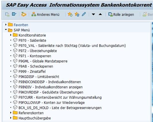 Das Bereichsmenü für die Berichte und damit die Transaktionen in der Bankenbuchhaltung heißt F9MINFO.