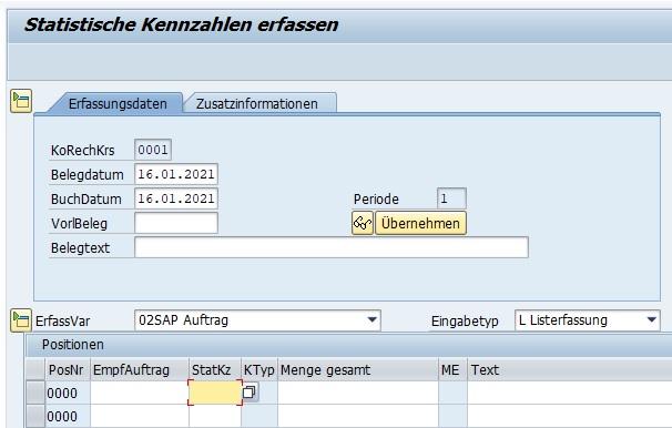 """In Innenaufträgen dienen statistischen Kennzahlen der genauen Leistungsverrechnung und den Detailinformationen. In der Transaktion """"Statistische Kennzahlen erfassen"""" (KB31N) kann man eine statistische Kennzahl auf einen Innenauftrag erfassen."""