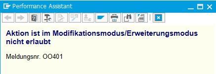 """Erhält beim Versuch, ein SAP-Objekt (z.B. Klasse) zu löschen, die Fehlermeldung """"Aktion ist im Modifikationsmodus/Erweiterungsmodus nicht erlaubt"""" (Meldungsnummer OO401), so deutet das daraufhin, dass der Modifikationsassistent aktiv ist."""
